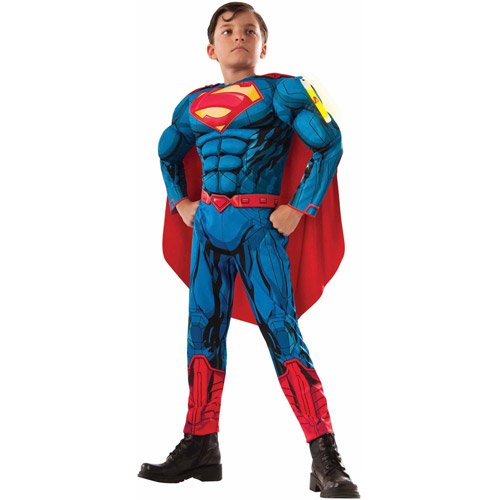 Costumes City Glow (RUBIES SUPERMAN MUSCLE CHEST COSTUME WITH GLOWSTICK SIZE BOYS)
