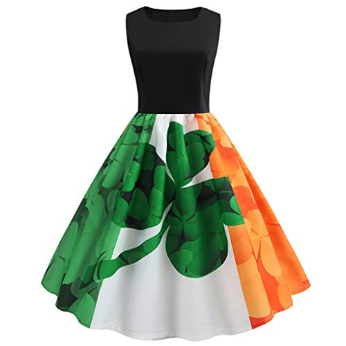 OSTELY St. Patrick's Day, Print Sleeveless Evening Party Prom Swing Dress(Green,Medium) (Happy Day San Patrick)