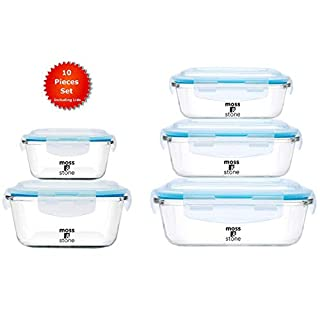 MOSS & STONE Kitchen Glass Food Storage Containers Set with Lids. (10 Pieces) Transparent Lids I BPA Free I Oven I Freezers I Microwave I Dishwasher | Glass tupperware set I Variety of size Leak-proof