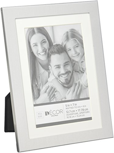 Darice Silver Frames - Darice 30028695 Simple Silver Picture Frame w/Matting: 5x7 to 4x6
