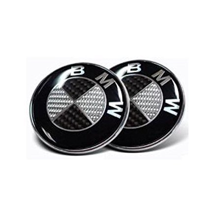 2pcs Runden Round Car Auto Black Carbon 82mm Hood & 82mm Trunk Round Compatible Replacement Emblem Logo Badge Fast Ship For (BMW)