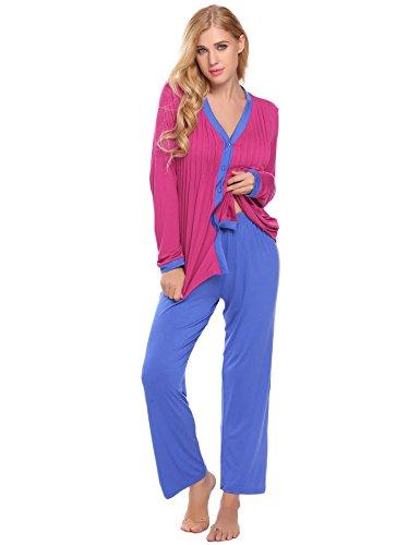 d7ca9f3ee8 Langle Women Long Sleeve Casual Button-Down Cozy Pajama Set Pjs Winter  Sleepwear S-
