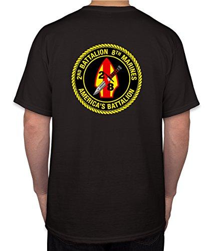 2nd Battalion 8th Marines USMC Marine Corp WWII Black Short Sleeve Shirt (Medium)