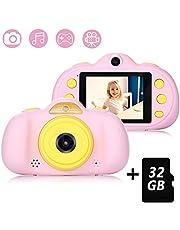 Fede Macchina Fotografica per Bambini con 32GB Carta TF Inclusa,Fotocamera Videocamera Digitale Portatile Obiettivo Doppio con Funzione Selfie,2.4 Pollici LCD,Lettore Musicale,4 Giochi,HD 8 MP/1080P