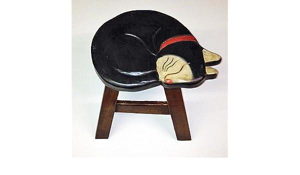 SLEEPING BLACK CAT FOOT STOOL SLEEPING BLACK CAT FOOTSTOOL