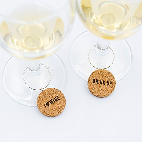 "Wine Glass Charms Natural cork Set of 6 ""Cheers"" themed Wine Glass Identifiers for Parties, Gatherings,Great Hostess Gift (cork) by YupSip"