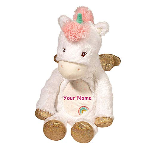 Douglas Personalized Unicorn with Sparkle Wings Plumpie Rainbow Detail Stuffed Animal Toy for Baby Girl ()