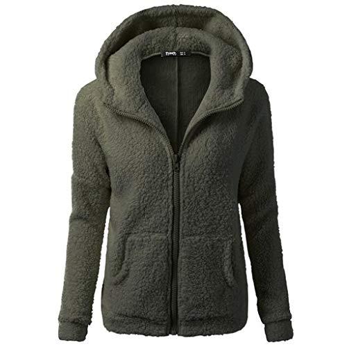 MEIbax Femmes  Capuche Pull Manteau d'hiver Laine Chaude Manteau  Capuche en Coton Manteau Outwear S/M/L/XL/2XL/3XL/4XL/5XL Arme Verte
