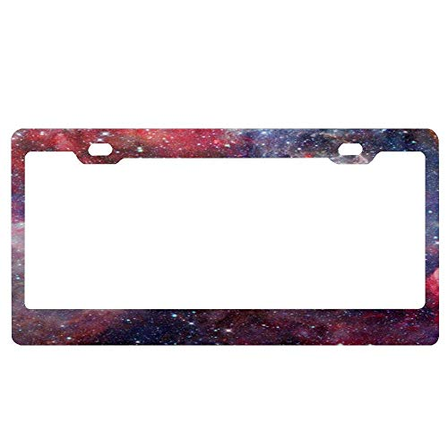 AUdddflsicenshf Colorful Space Nebula Mysterious Red Deep Blue Car Licence Plate Covers Holders with Chrome Screw Caps for US ()