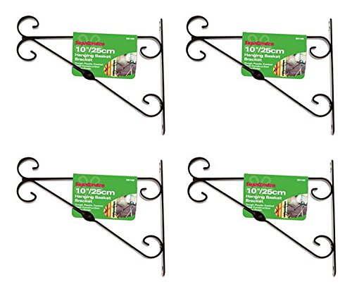SupaGarden Black Garden Plant Hanging Basket Bracket 30cm / 12