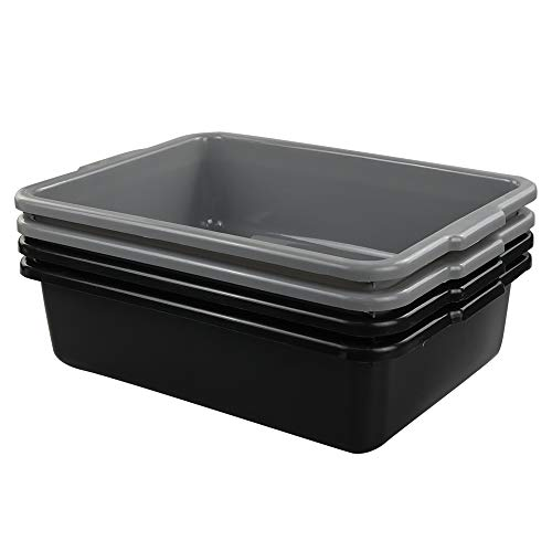 Lesbin 13 Liter Plastic Commercial Tote Box, Bus Tubs/Bus Box, 4-Pack ()