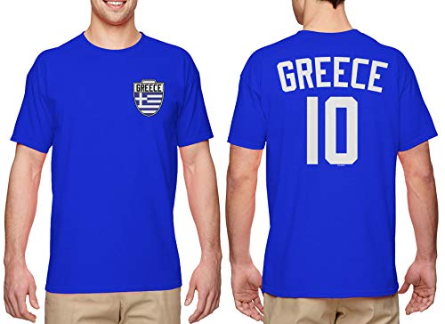 Greece Soccer Jersey - Greek Men's T-Shirt (Royal, XXX-Large)