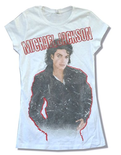 Michael Jackson Bad Red Outline Pic Girls Juniors White T Shirt (L) - Michael Jackson Women T-shirts