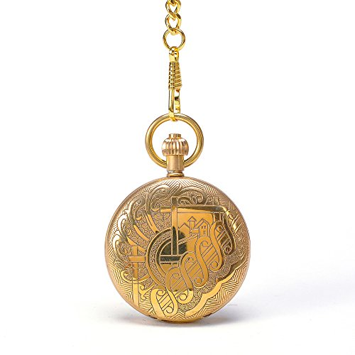 Designer Gold Pocket Watch - Luxury Gold Royal Designer Men Gift Vintage Round Mechanical Hand Winding Pocket Watch With Chain Cool Watch