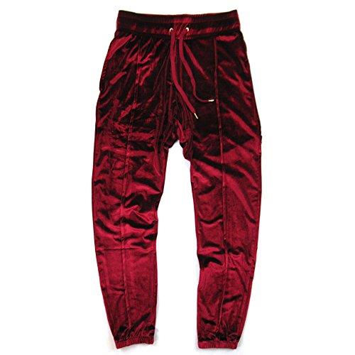 (VFIVE UNFOUR Unisex Velvet Velour Running Gym Jogging Pants Wine Red XL)