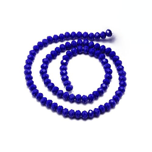 70+ Dark Blue Czech Crystal Opaque Glass 6 x 8mm Faceted Rondelle Beads HA20545 (Charming Beads)