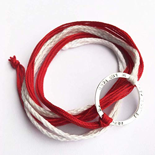TE AMO PERU Stamped Infinity Open Circle Wrap Bracelet, Reversible Sterling Silver 925 plated, Adjustable Red and White Multi-strand Pima Cotton Thread - Bracelet Open Strand Heart