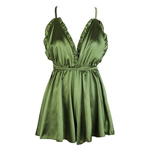 - Trendy Hot Sale Women Sexy Backless Lace Up Spaghetti Lingerie Satin Silk Sleepwear Underwear Nightwear(G,M)