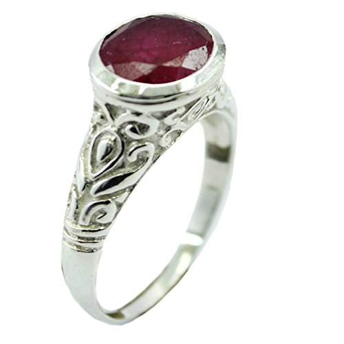 55Carat Genuine Indian Ruby Sterling Silver Ring For Women Oval Shape Birthstone Size 5,6,7,8,9,10,11,12