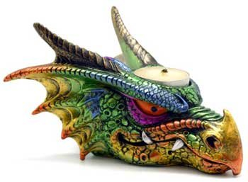 AzureGreen Head of a Dragon Tea Light Multi Colored Illumination Candle Holder