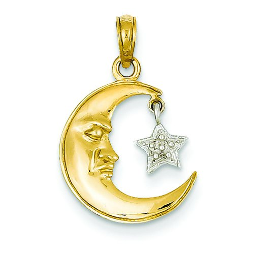 14K Two Tone Gold Half Moon & Star Pendant Charm