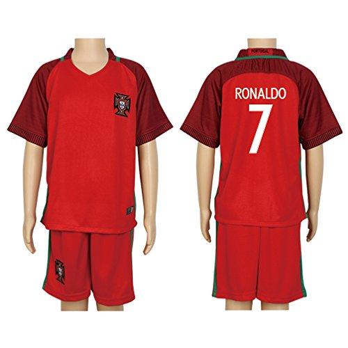 Santa Real Name - 2016 UEFA Euro #7 Ronaldo Red Home Kids Soccer Jersey & Short Kit Set