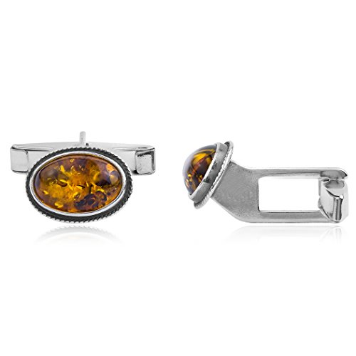 (Amber Sterling Silver Oval Cuff Links)