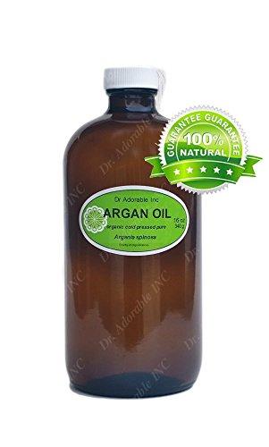16 oz botella de cristal aceite de argán marroquí Orgánico Puro para cara cuerpo de pelo