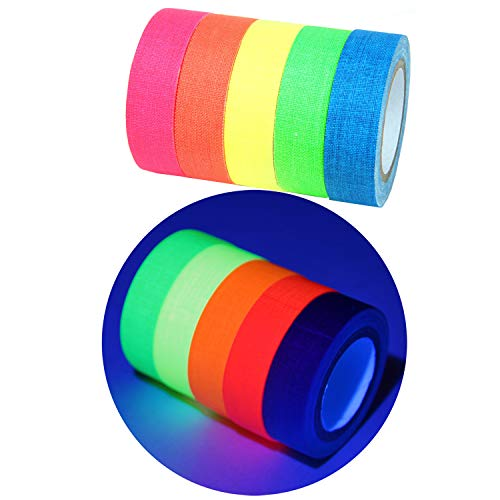 YUKUNTANG 5-Pack UV Blacklight Reactive Fluorescent Cloth Tape Neon Gaffer Tape Set 0.6 in x 16 ft