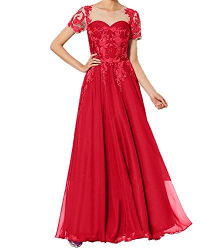 Abendkleider Damen Spitze Lang Brautmutterkleider Charmant Promkleider Rot 2018 Abiballkleider Partykleider Kurzarm Neu xXqWOFZ
