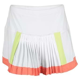Women`s Color Block Pleat Tennis Skirt White