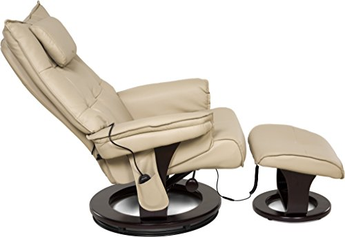 Relaxzen 8-Motor Massage Recliner with Lumbar Heat and Ottoman, Cream