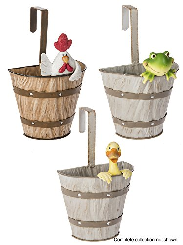 - Ganz Garden Friends Hanging Planter Pots - Set of 3 (Duck, Frog, Rooster)