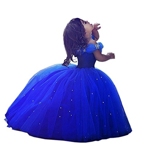[Beautyfudre Baby Girls' Off-shoulder Crystal Cinderella Ball Gown Princess Birthday Party Dress Royal Blue] (Cinderella Dress For Toddler)