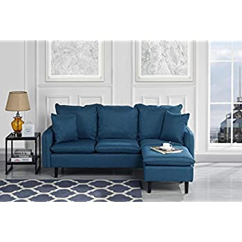 Amazon Com Upholstered 74 4 Quot Inch Linen Sectional Sofa L