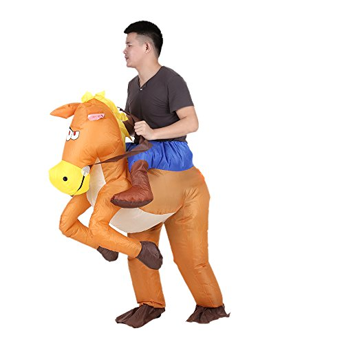 (Fesjoy Funny Cowboy Rider on Horse Inflatable Costume Outfit for Adult Fancy Dress Halloween Carnival Party Blow Up Inflatable Costume Suit with Battery Operated)