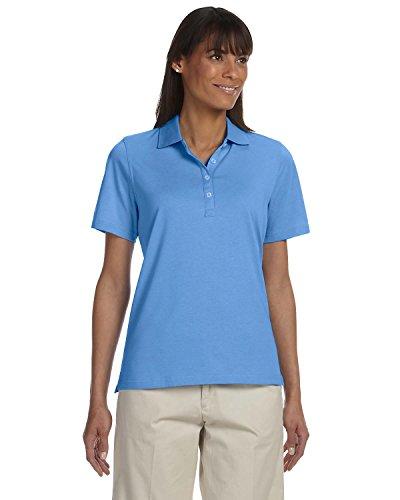 Ashworth 1147C Ladies High Twist Cotton Tech Polo-Short Sleeves T-Shirt-Large-Blue