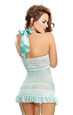 Dreamgirl Women's Playful Retro Stretch Mesh Garter Slip and Thong Set