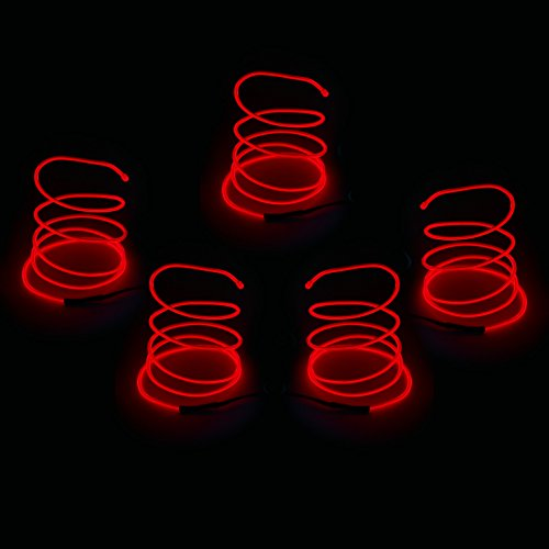 Blazing Fun Shapable EL Wire, Neon Glowing Super Bright LED Cable/EL Wire with AA Battery Inverter for Halloween Christmas Party DIY Decoration, 5 by 1 Meter(Red) -