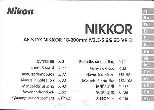 Nikon af-s dx nikkor 18-55mm 1:3. 5-5. 6 instruction manual.
