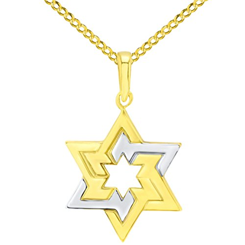 14K Yellow Gold Seal of Solomon Star of David Pendant with Cuban Chain Necklace, 22