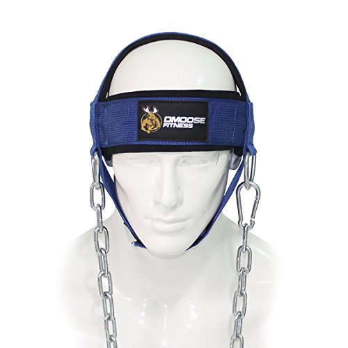 Head Harness Neck - DMoose Fitness Neck Head Harness for Resistance Training. Extra-Heavy D-Rings and Steel Chain, Comfort Fit Neoprene, Superior Saddle Stitching. Build A Thicker Neck with Durable Exercise Neck Strap