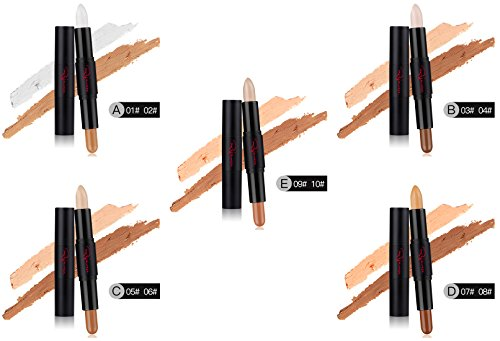 Cosmetics Cream Contour Concealer (a set of 5 Sticks) Highlighting Makeup Kit By Rejawece - Contouring Foundation makeup / Concealer Stick - 2 In 1 Contour Concealer Stick with 10 Colors