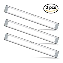 LED Under Cabinet Lighting, Aglaia Dimmable Under Cupboard Light LED 3W 6000K Ultra Thin Closet Light Bar for Kitchen Shelf Locker Show Case(3 Pack)