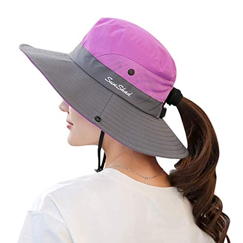 Muryobao Women's Sun Hat Outdoor UV Protection Foldable Mesh Bucket Hat Wide Brim Summer Beach Fishing Cap Purple ()