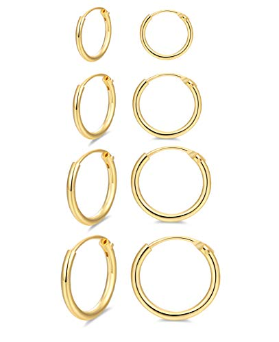 Hoop Earring 14K Gold Plated S925 Sterling Silver Endless Hoop Earring Set for Women Cartilage Nose Lip Rings 8/10/14/16 mm (4 pairs)