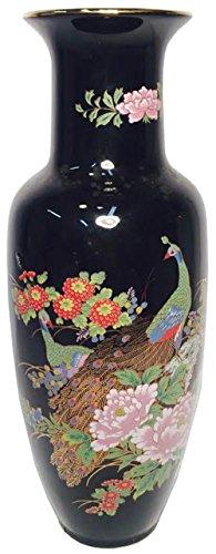 Oriental Style Black Vase with Peacocks