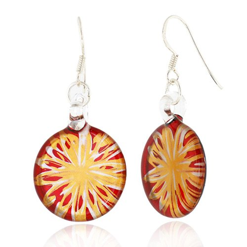 925 Sterling Silver Hand Blown Venetian Murano Glass Red Flower Dangle Hook Earrings