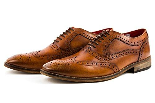 Base London Herren Business Schuhe Schnürschuhe Budapester Elegant Gr. 42 Braun