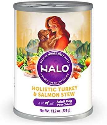 Halo Natural Wet Dog Food, Turkey Salmon Recipe